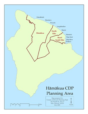 Hāmākua CDP Planning Area Map