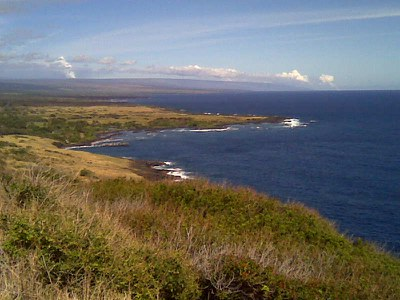 View of Two Plumes from Na`alehu